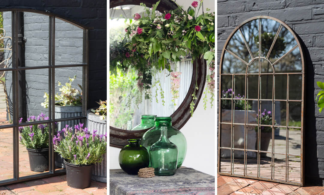 lifestyle images of outside mirrors for small gardens