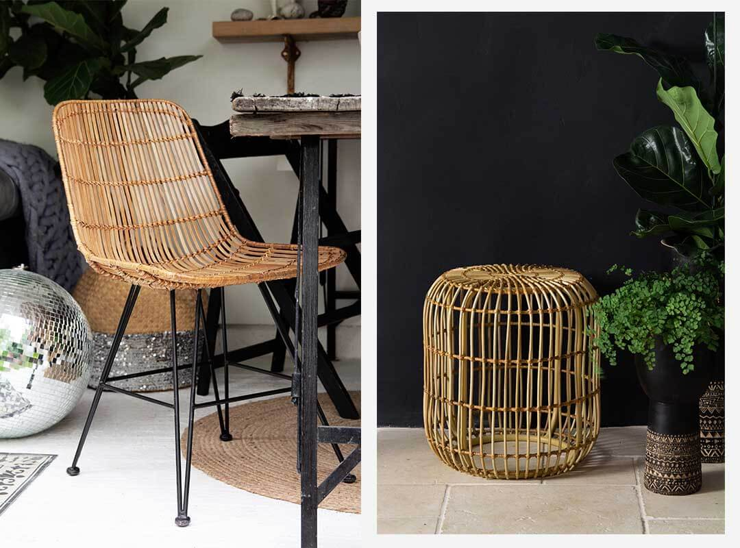 rattan ding chair and wicker stool or side table perfect for the garden