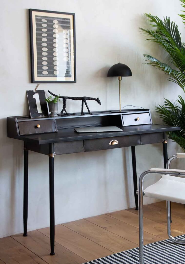 Industrial style Black metal desk with drawers and shelf storage