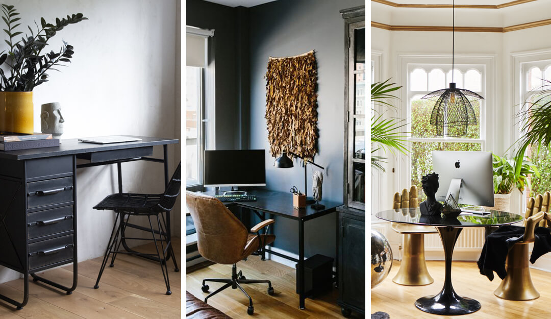 lifestyle image of black desk ideas for the home office