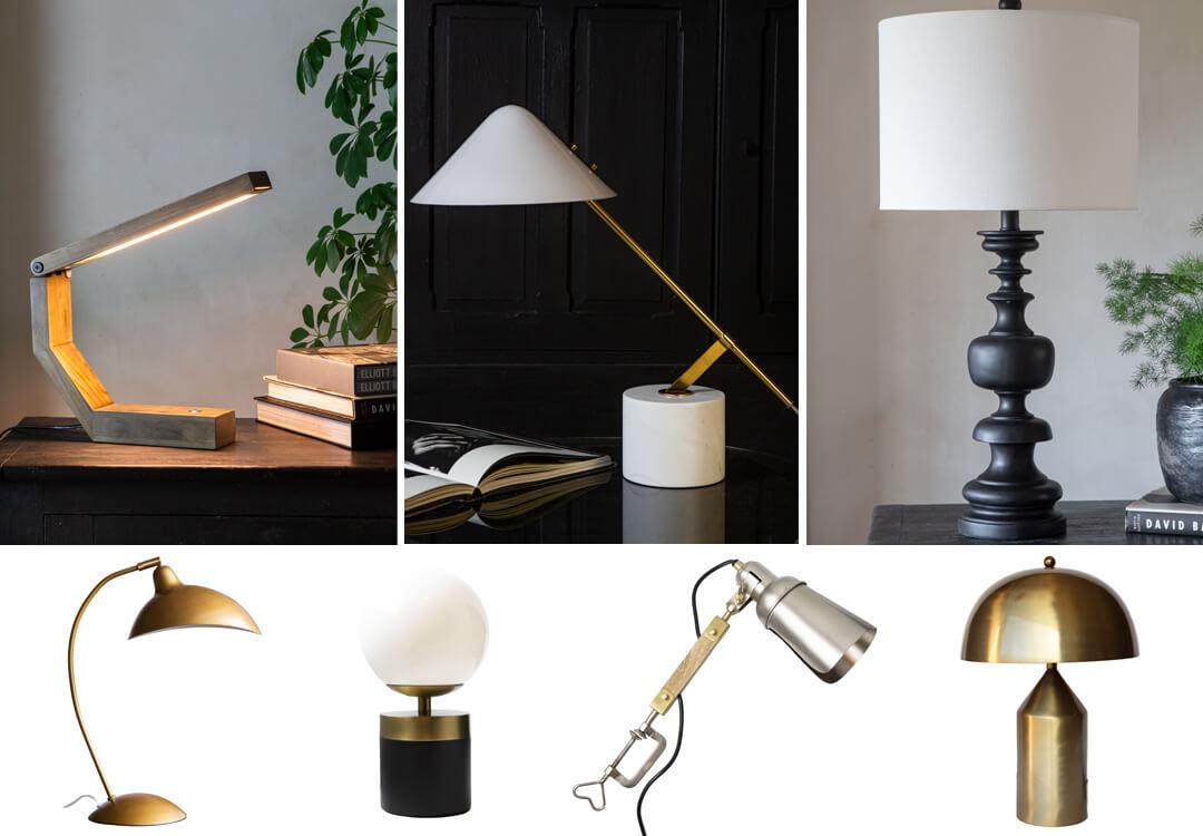 lifestyle images of stylish home office lighting ideas
