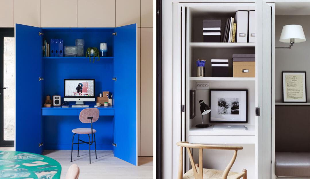 lifestyle collage of hidden desks