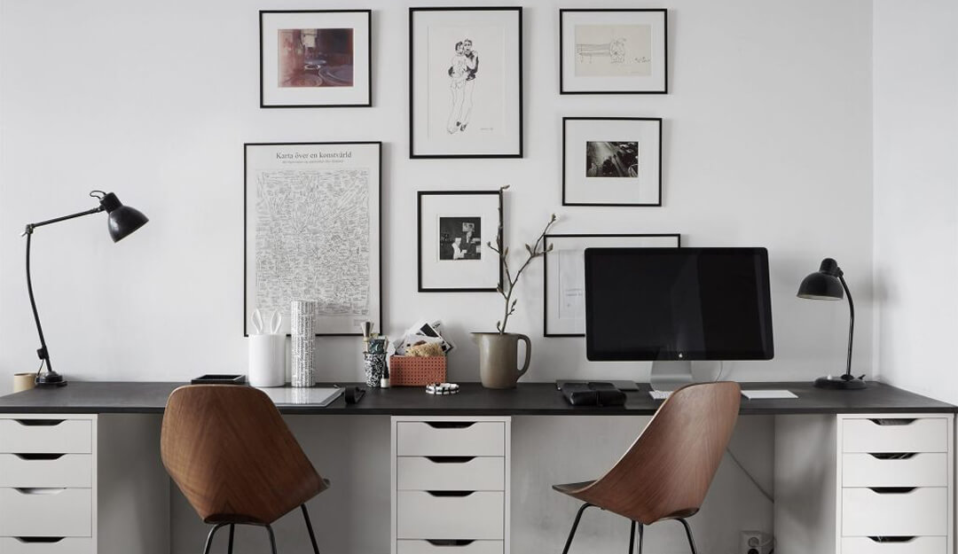 lifestyle image of home office double desk ideas