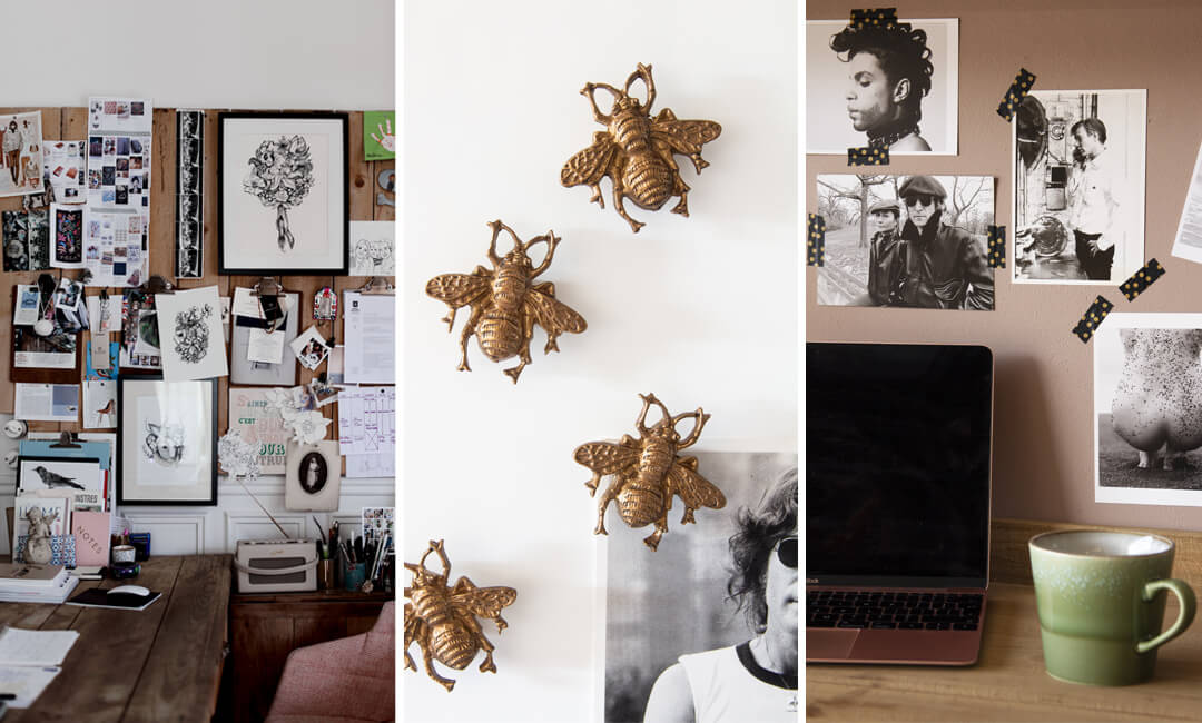 lifestyle images of inspirational moodboards in the office