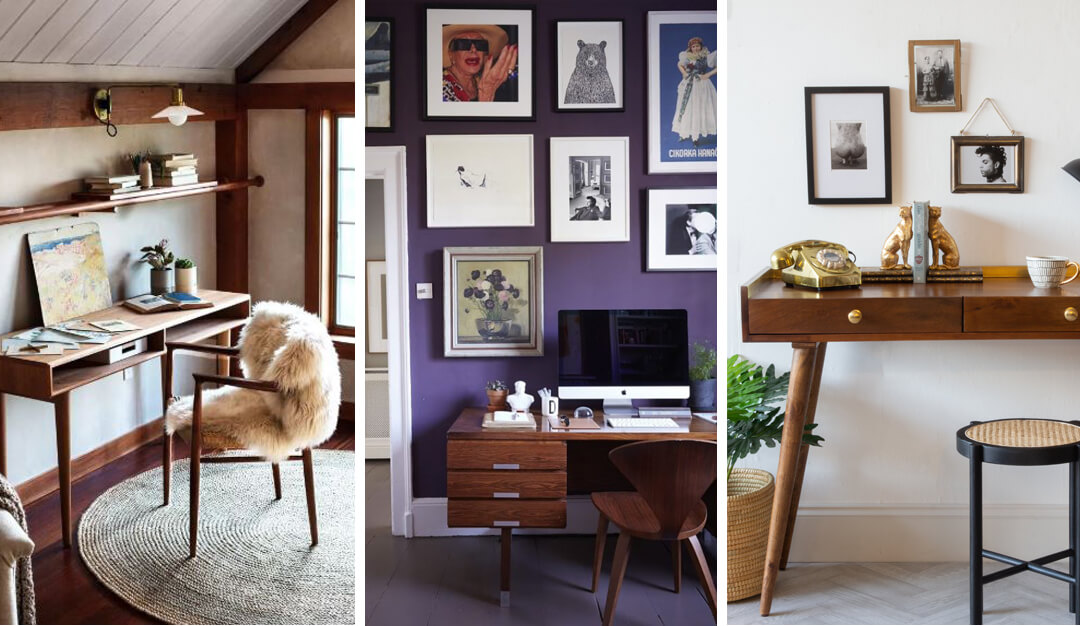 lifestyle collage of wooden desk ideas