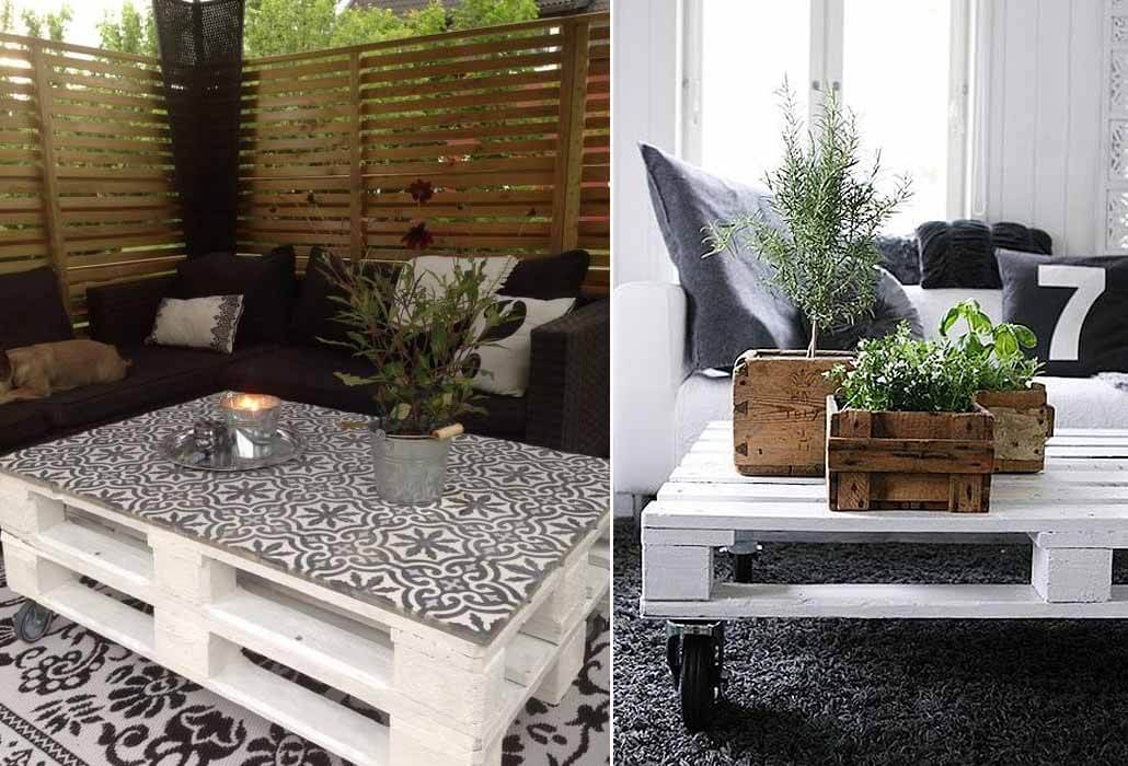 low coffee table for the garden made out of wooden pallets