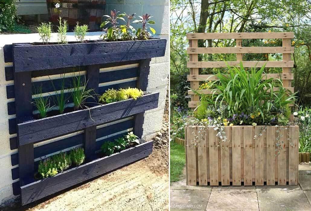 wooden pallet garden planter and DIY privacy screen