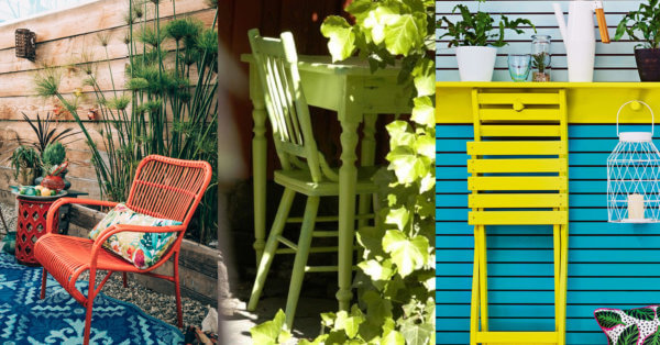 vibrant coloured painted garden furniture