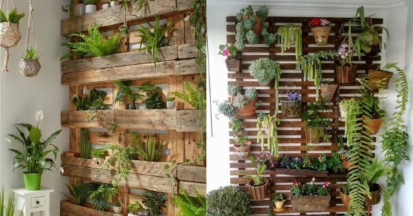 Vertical planter made with wooden pallets
