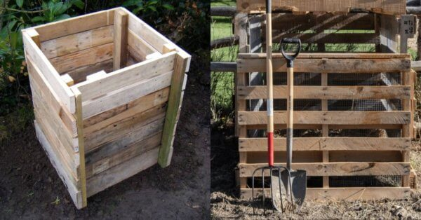 Compost box made from wooden pallet