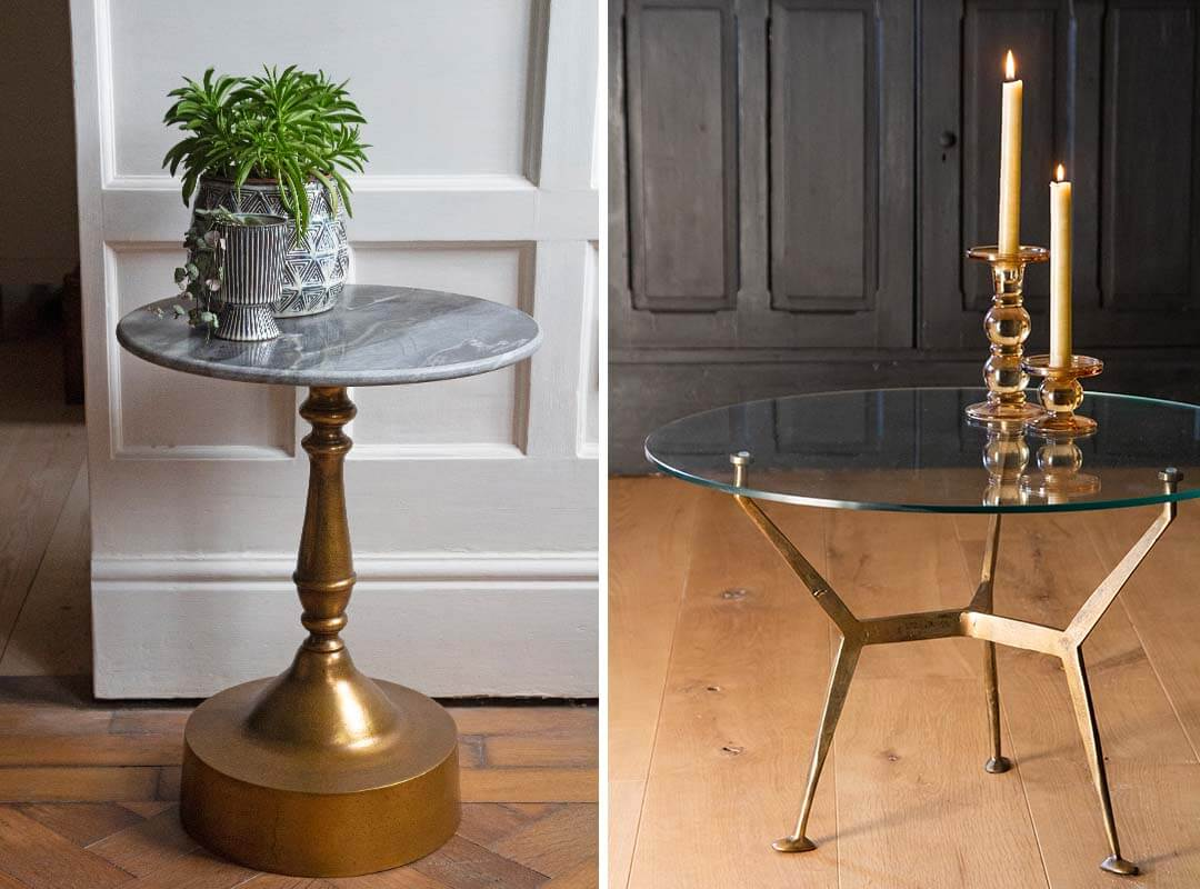 gold metal and marble side table and glass top round coffee table for the garden