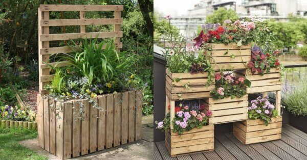 Wooden planters for the garden