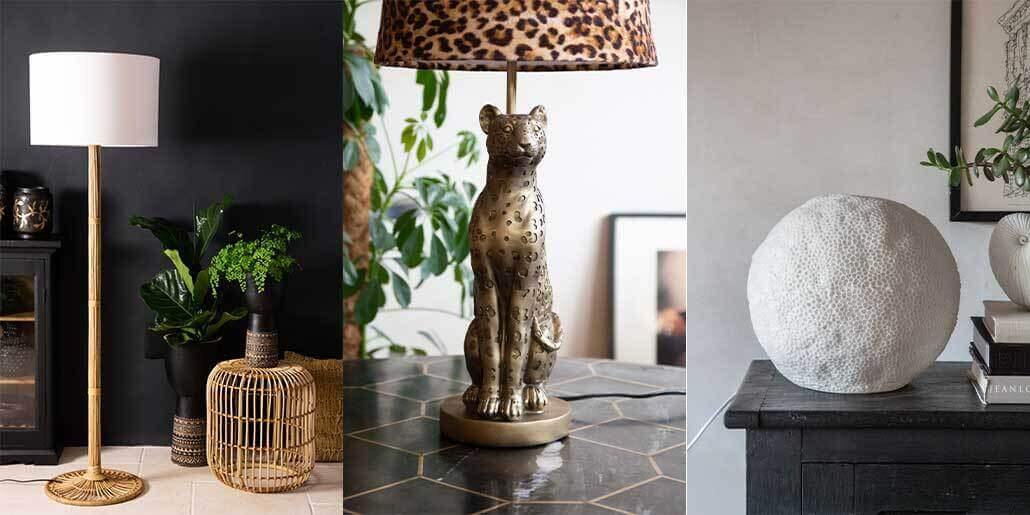 lifestyle images of wall and table light home decor ideas