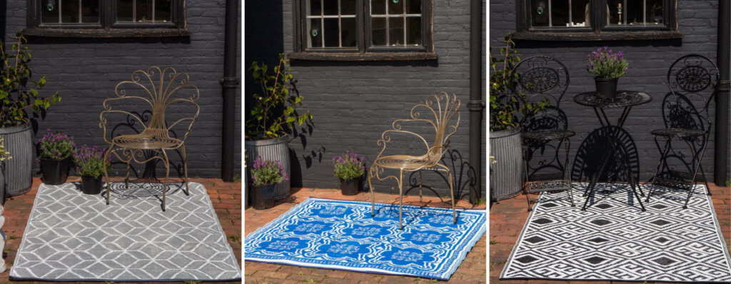 images of three picnic or garden rugs