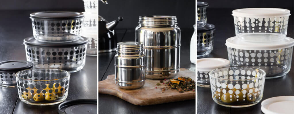 kitchen storage bowls in glass and stainless steel
