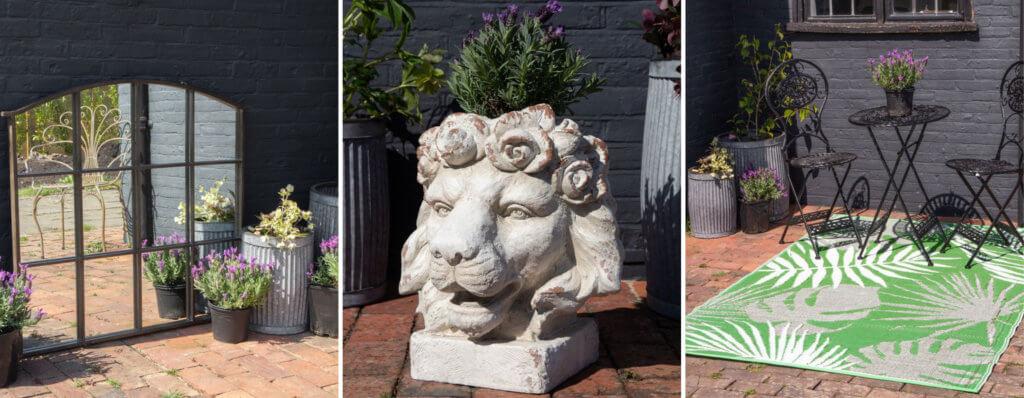 outdoor mirror, lion planter and garden rug