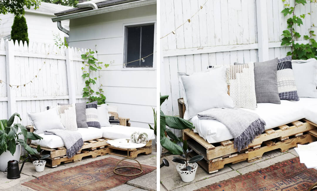 lifestyle image of pallet sofa for make your own garden furniture ideas