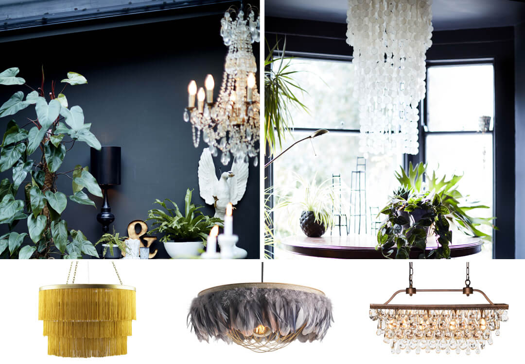 lifestyle and cut out images of statement chandeliers