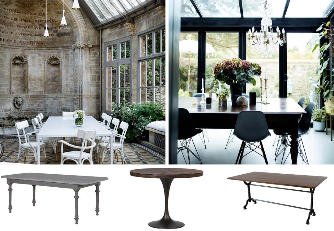 lifestyle and cut out images of dining table ideas for a garden room