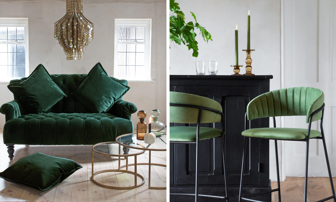 lifestyle images of gorgeous green furniture