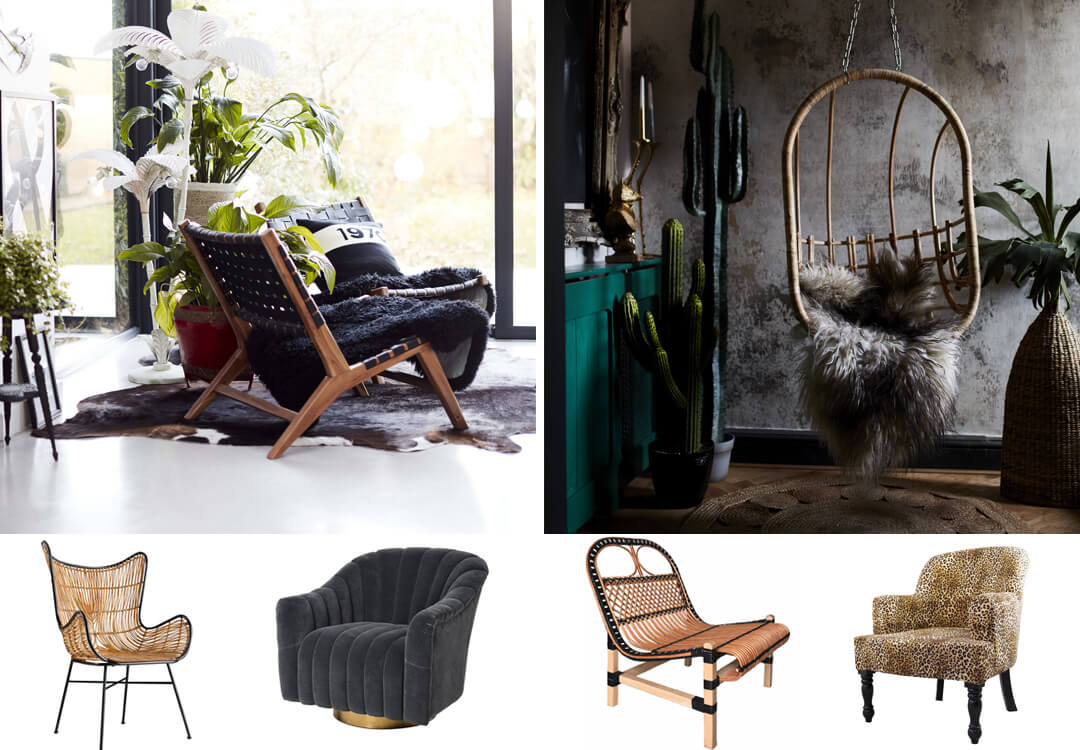 lifestyle and cut out images of statement seating