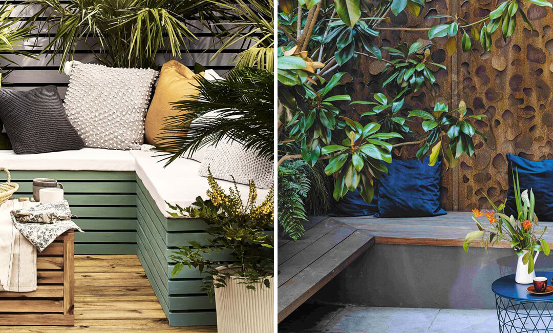 lifestyle images of built-in garden furniture ideas