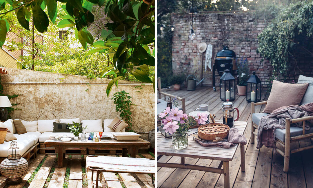 lifestyle images of wooden coffee tables ideas for the garden
