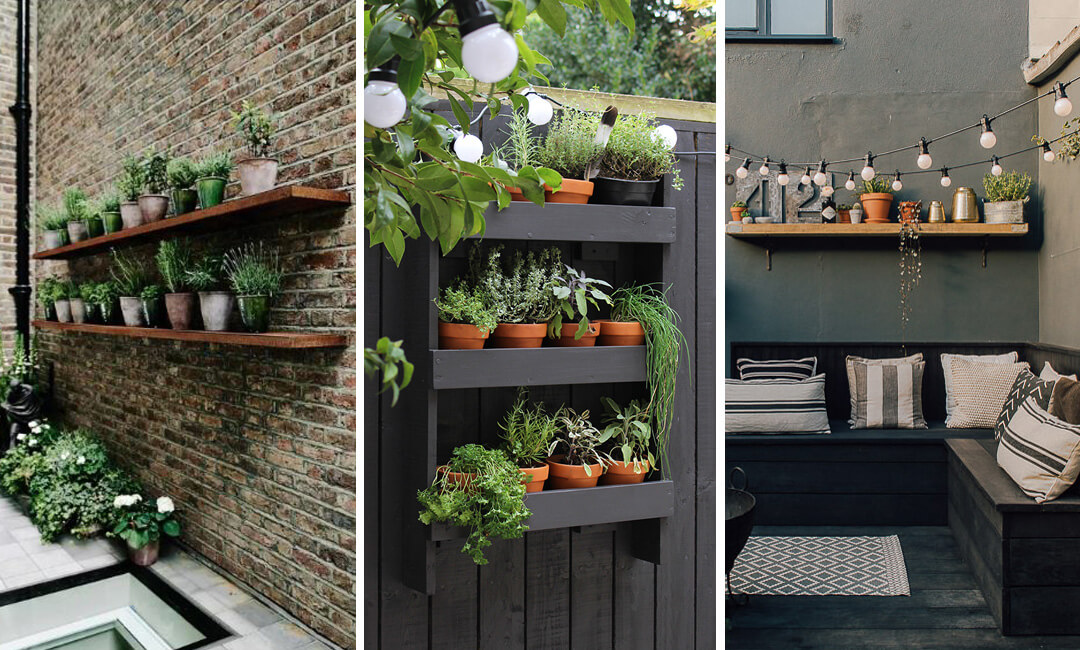 lifestyle images of wood shelves in the garden