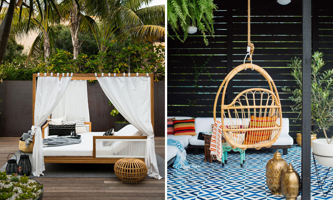 lifestyle images of a garden swing chair and wooden cabana