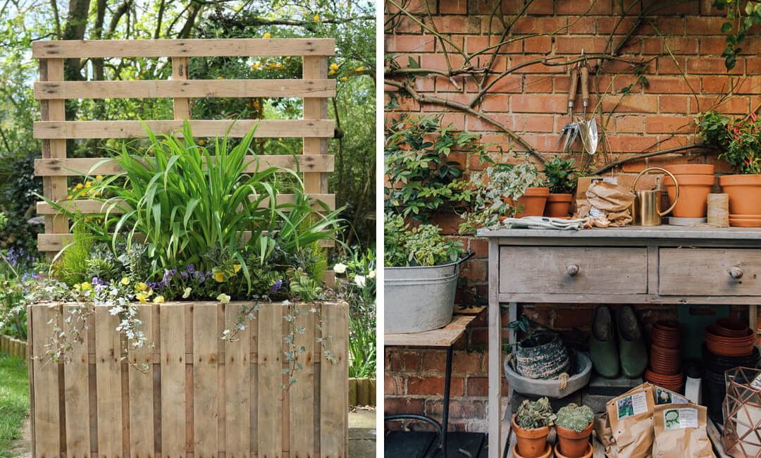 lifestyle images of DIY garden planters and potting tables