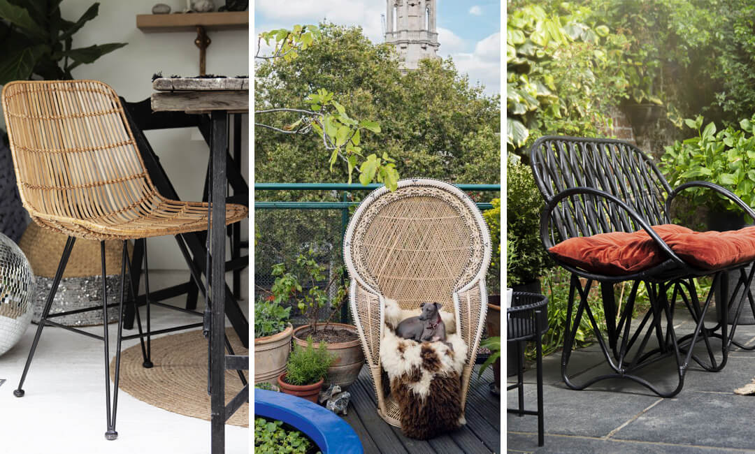 lifestyle images of rattan furniture in the garden