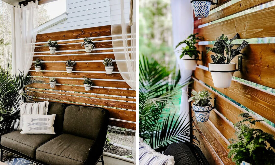 lifestyle image of DIY privacy screen for make your own garden furniture ideas