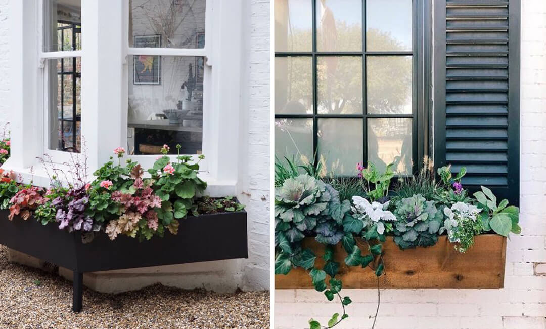 lifestyle images of wooden garden window boxes