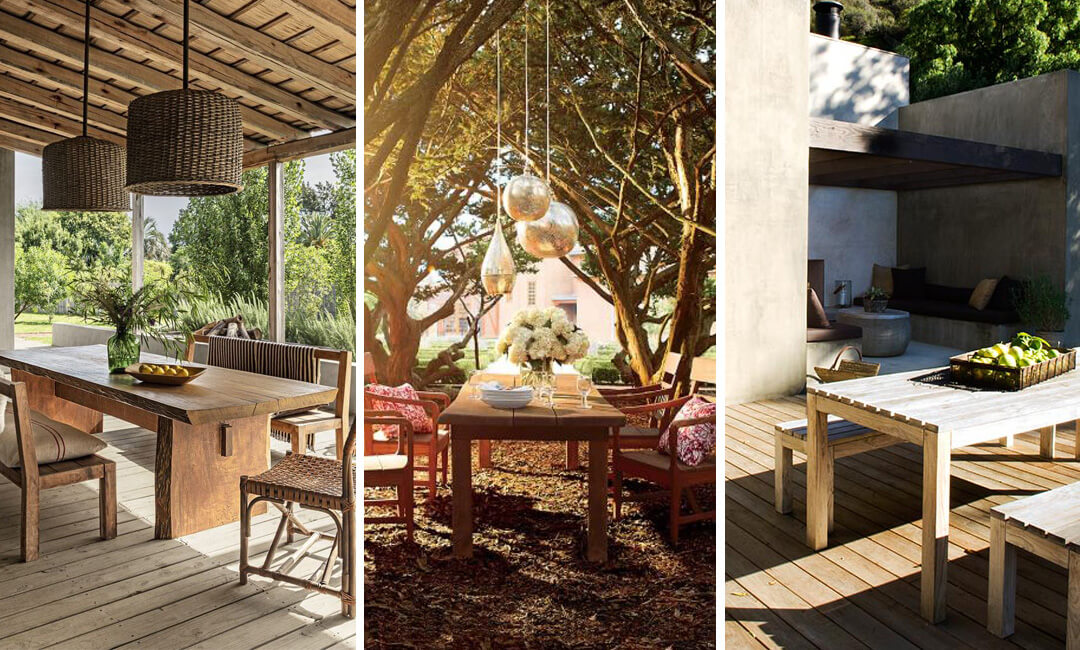 lifestyle images of wood garden tables