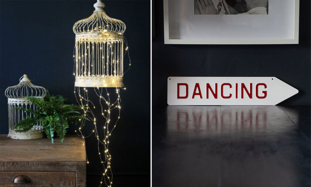 image of a outdoor fairy light chain and red dancing sign