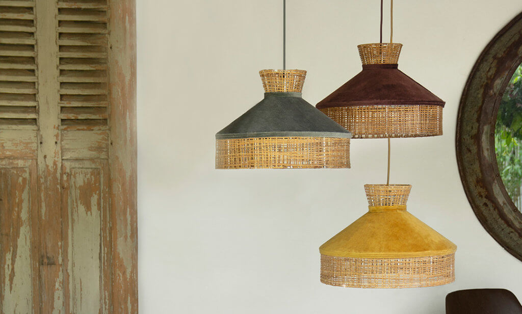 image of the three velvet & rattan ceiling lights in mustard yellow, burgundy and grey