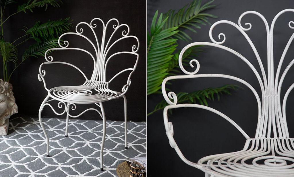 Image of the pretty peacock garden chair in white