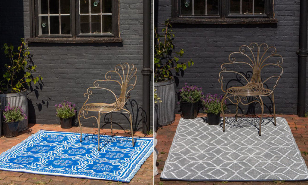 image of two outdoor garden rugs in blue and grey