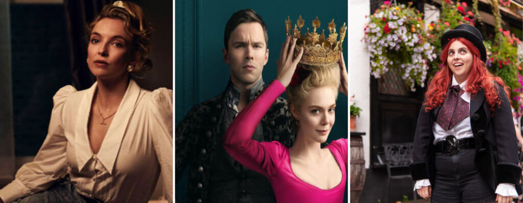 3 images of the cast members in talking heads, the great and how to build a girl.