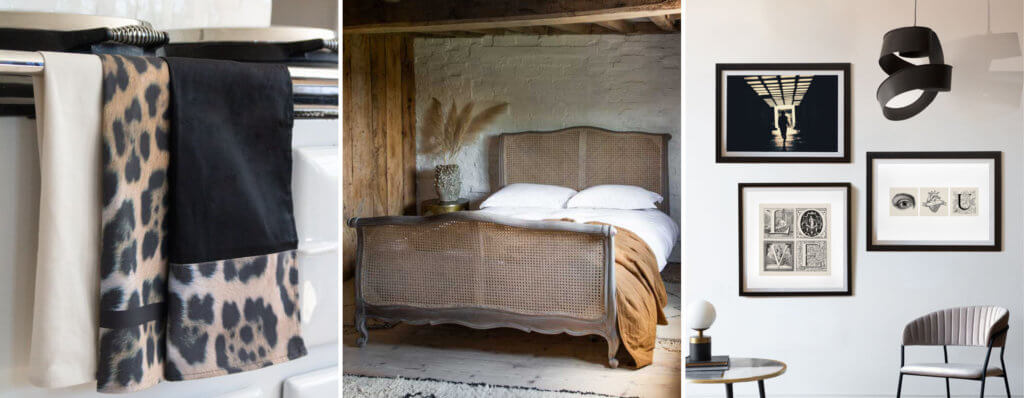 Grid of three images of leopard print tea towels, a woven cane bed and a picture art wall