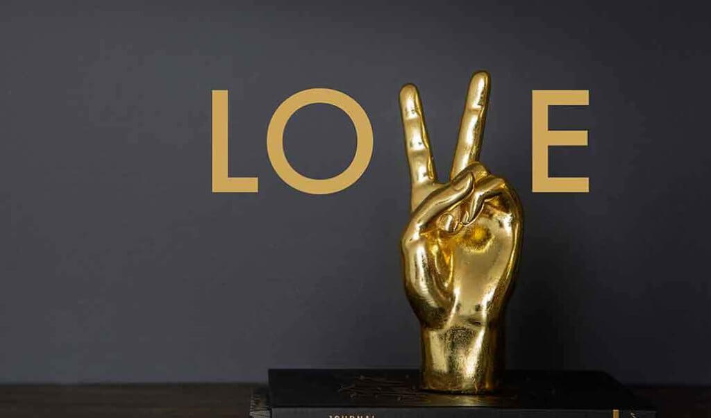 Love with Gold Peace Hand Ornament