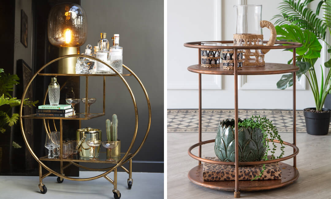 lifestyle image of drinks trolleys for a home bar