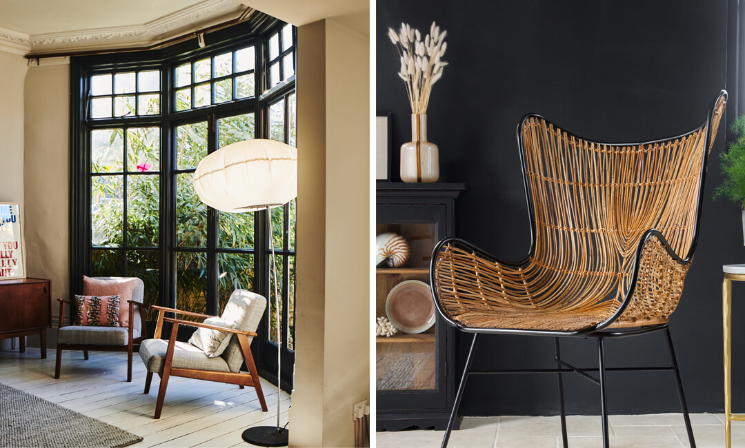 lifestyle images of living room armchairs
