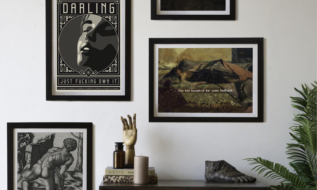 lifestyle image of a gallery wall of artwork