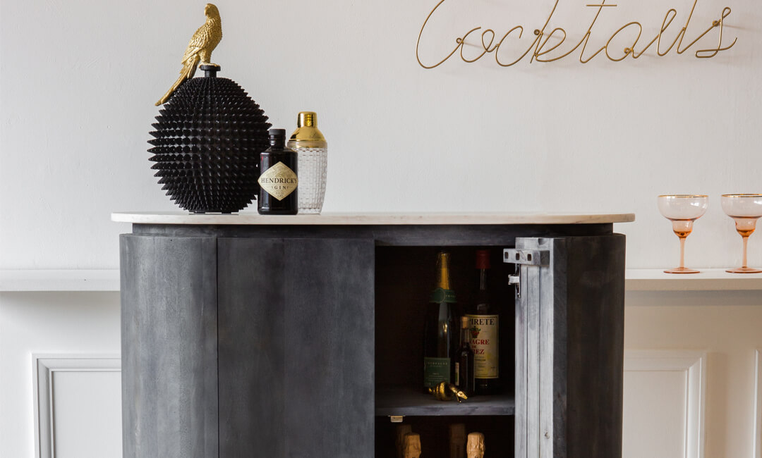 lifestyle image of drinks cabinet ideas for home furniture in the living room
