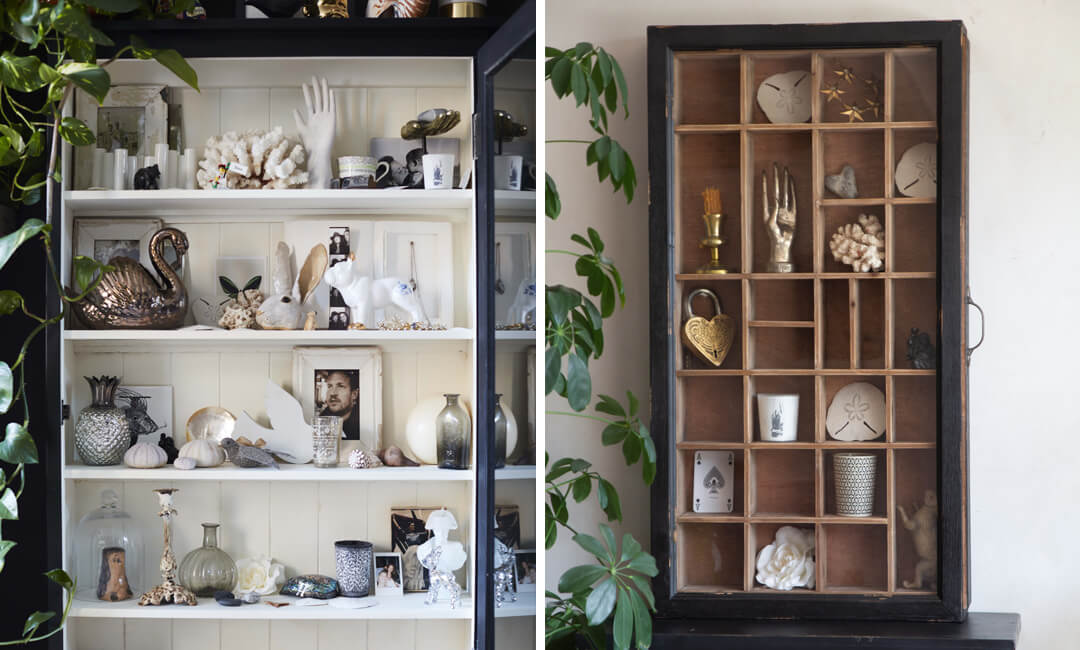 lifestyle images of cabinet of curiosity style shelving