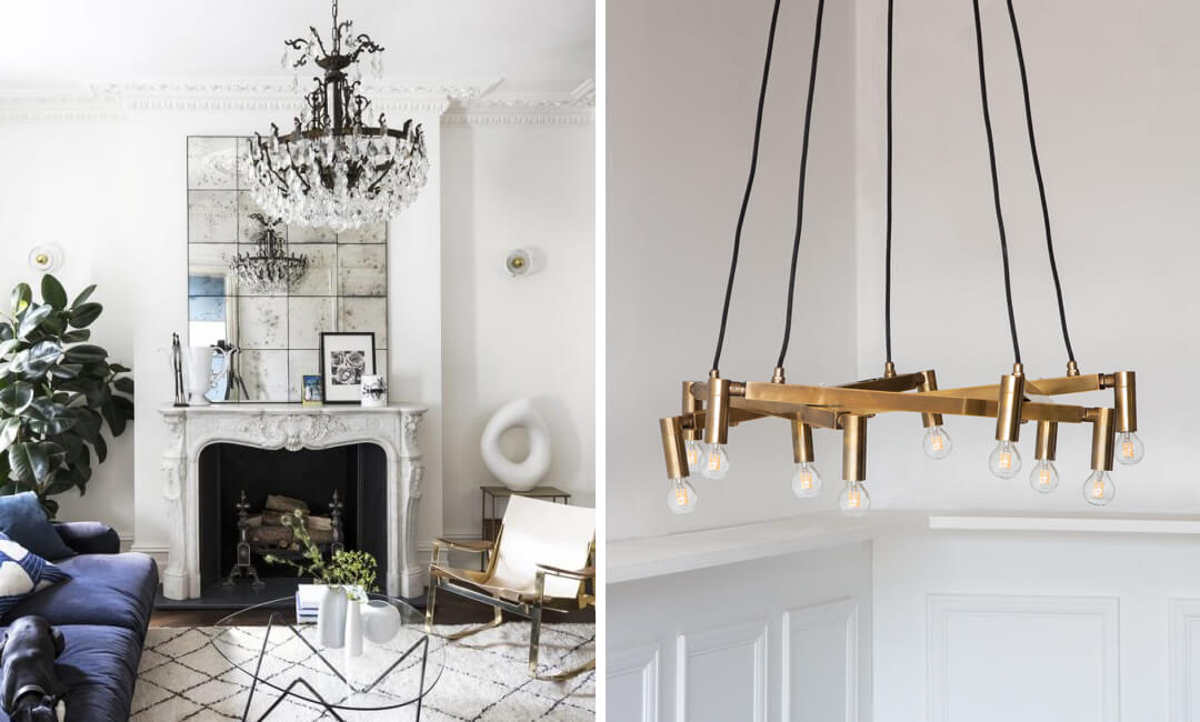 lifestyle images of statement chandeliers in the living room