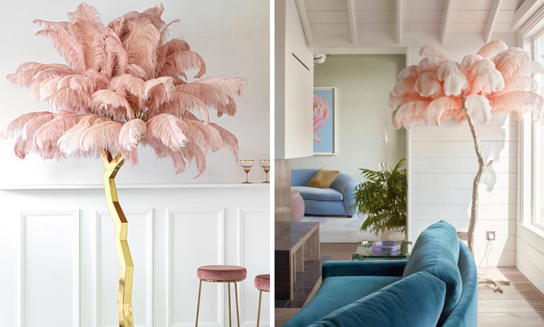 lifestyle images of a beautiful feather tree display feature in the living room