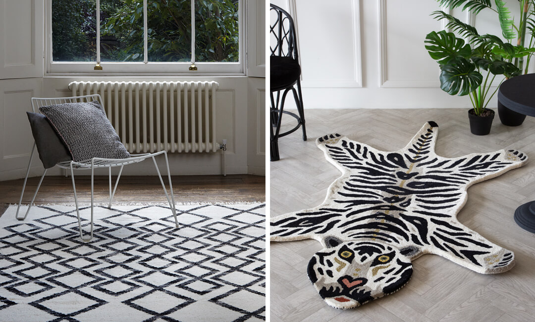 lifestyle images of patterned black and white rugs ideas for the home