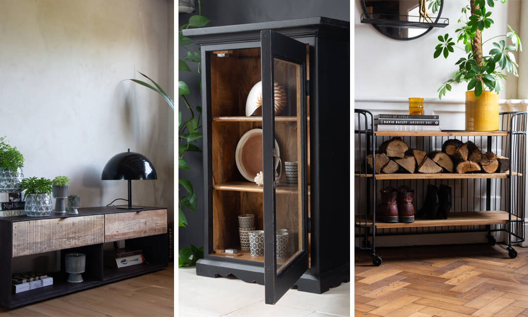 lifestyle images of storage units and shelving in the living room